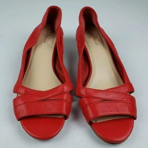Cole Haan Womens Size 7 1/2 B Red Leather Open Toe